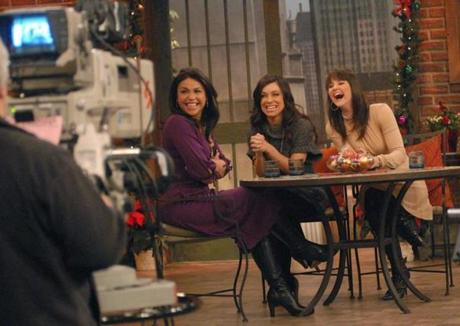 Rachel Ray, Gretchen Monahan and Kristan Cunningham on the set of The Rachel Ray Show in Manhattan.