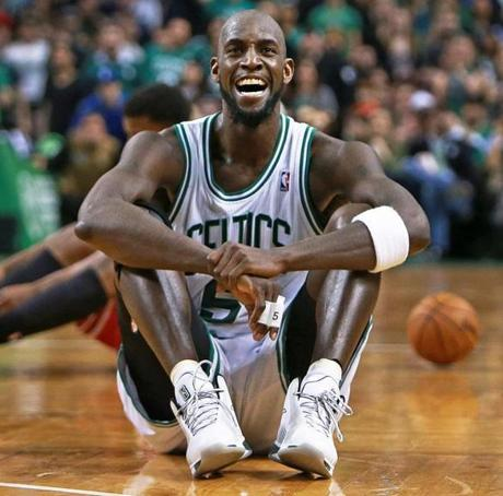 The Celtics' Kevin Garnett smiled after a play in which he got the ball to teammate Brandon Bass, who was then fouled by the Chicago Bulls' Joakim Noah.