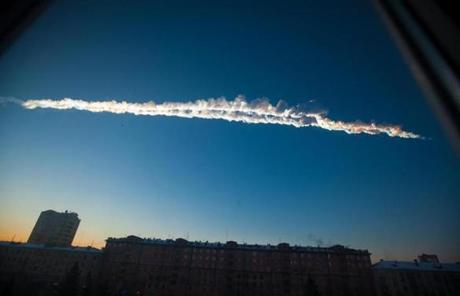A meteorite trail over Chelyabinsk. Scientists estimate the meteor weighed 10 tons.
