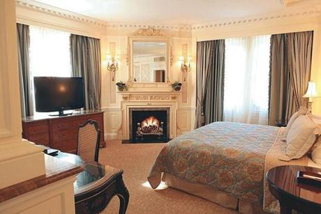 The Lenox in Back Bay has several rooms with fireplaces, and the chef will send up gourmet s'mores.