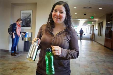 Ilana Copel, co-president of Vermont Students Toward Environmental Protection, showed-off some of the reusable water bottles the group is making available to UVM students.