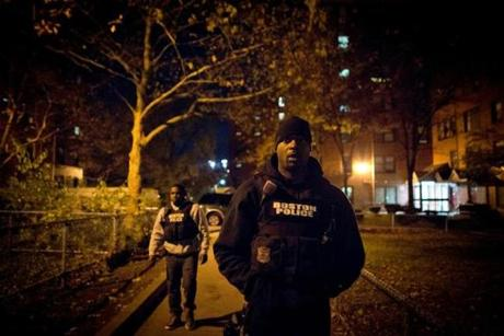 "Terrique Chambers and Myles Lawton of the gang unit, one of several Boston police units followed in the eight-part reality series ""Boston's Finest."""