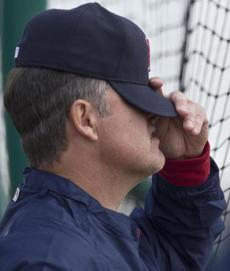 Manager John Farrell watched batting practice.
