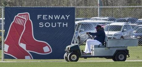 David Ortiz transported himself from field to field in a grounds crews cart during practice.