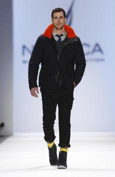A model sported an outfit by Nautica during Fashion Week.