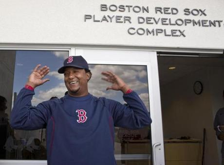 Pedro Martinez addressed the media during a press conference.