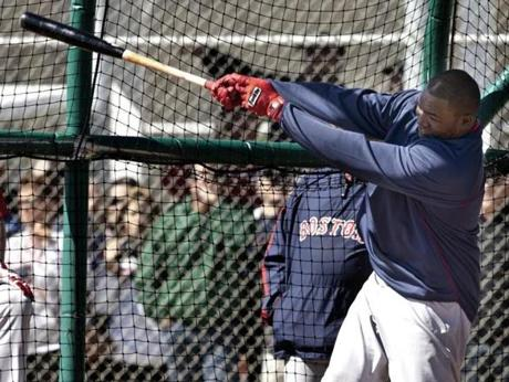 David Ortiz took a big swing during batting practice at spring training at JetBlue Park in Fort Myers, Fla.