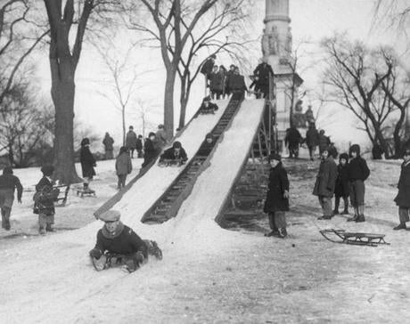 January 25, 1930:  Youngsters on the Boston Common welcomed the announcement from the Boston Park Department that sliding conditions were good on the toboggan slide situated near the Soldiers' and Sailors' Monument. The Common slide was a double affair, two wooden runways extended from the hill overlooking the ball fields down toward Charles St. The slides were well constructed and long enough to give sufficient momentum to carry sleds or toboggans almost to the Charles St. gates of the Common.