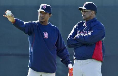 Martinez is the latest former Red Sox great, along with Hall of Famer Jim Rice, right, to join the club as a spring instructor.