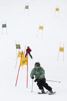 Skiers with the Boston Ski Party were clocked on their run down the mountain.