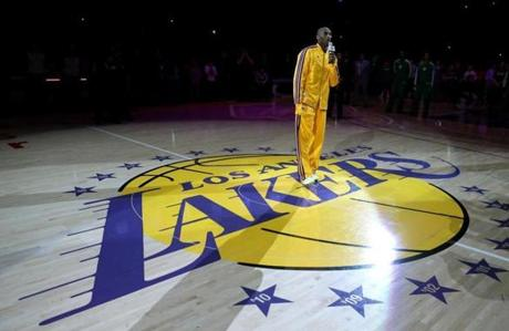 Kobe Bryant addressed the Lakers crowd in a ceremony honoring late team owner Jerry Buss.