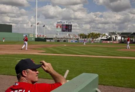 John Farrell watched as his team took the field for the exhibition opener against Northeastern.