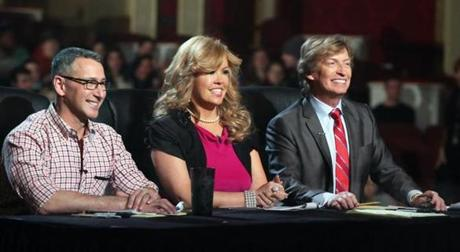 2-23-2013 Boston, Mass. Audition tryouts ''So you think you can dance'' held at the Opera House . L. to R. are Judges Adam Shankman, Mary Murphy and Nigel Lythgoe. Globe photo by Bill Brett