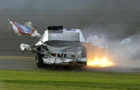 Pieces of Larson's car flew through the air.