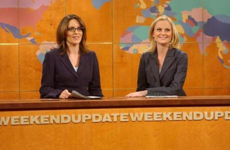 "Fey with pal Amy Poehler during a ""Weekend Update"" segment on ""Saturday Night Live."""