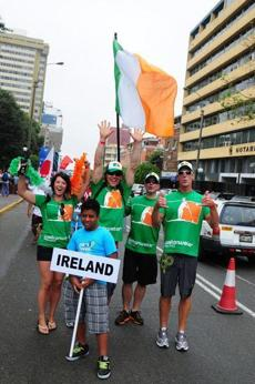 Johnny O'Hara (right) marched with Team Ireland in the opening ceremonies in Peru.