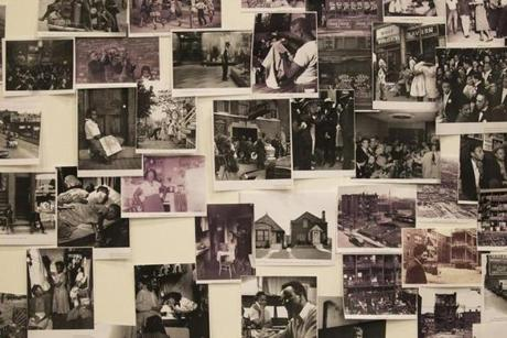 "A research wall of photographs from the era of ""A Raisin in the Sun"" hangs in the Huntington Theatre Company's rehearsal space, where actors can study the images."