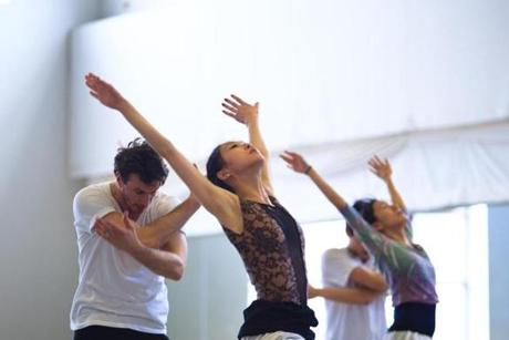 Boston Ballet's Sabi Varga and Misa Kuranaga (at left) and Kathleen Breen Combs and Aurélie Cayla (at right) in rehearsal.