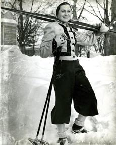 February 6, 1938 / The Viennese skiing champion, Madame Maria Singer, taught Mt. Holyoke students how to ski down Mt. Tom.