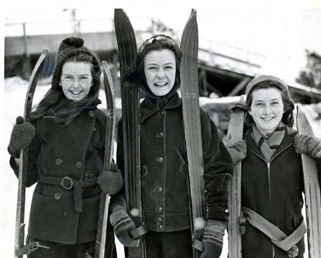 February 26, 1940 / Nancy Munnis, Barbara Jouannet and Jean Munnis, all of Dorchester, tried out their skis at Franklin Park.