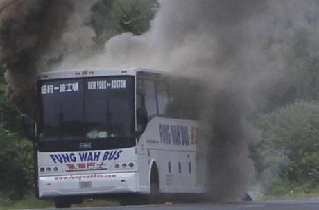 A Fung Wah bus from Boston to New York burst into flames on Aug. 16, 2005, on a Connecticut highway, just moments after passengers fled the bus.