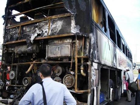 Damage from the August 2005 bus fire.