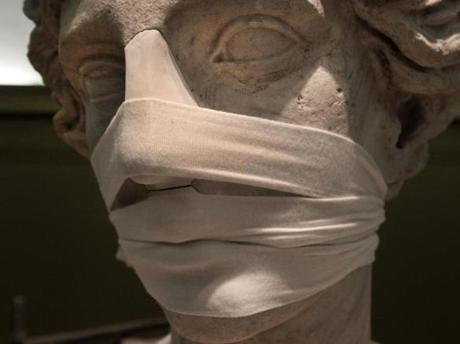 Medical bandages were used during reconstruction of the nose and lips on the 13-foot-tall statue of the goddess Juno at the Museum of Fine Arts.