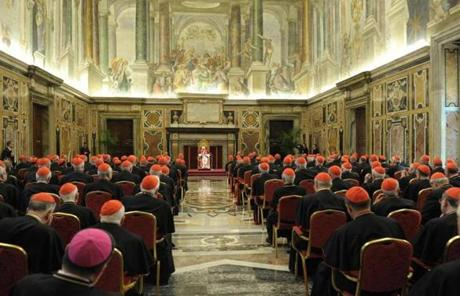Pope Benedict XVI pledged obedience to his successor at a meeting of cardinals on his last day as pontiff.