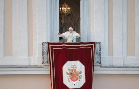 Benedict waved to crowds from the balcony of his summer residence.