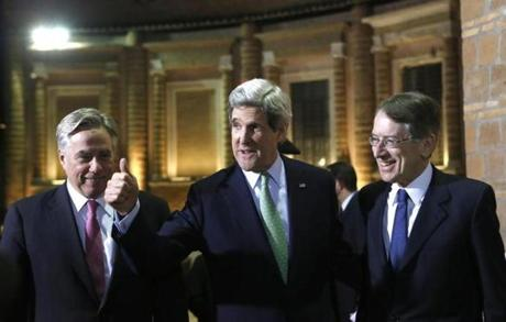 Secretary of State John Kerry was flanked by Italian Foreign Minister Giulio Maria Terzi Di Sant'Agata, right, and US Ambassador to Italy David Thorne.