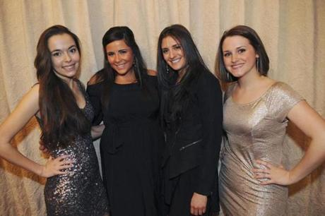 Lauren Capron, 16, of Boxford (left); Taylor Callahan, 22, of Marblehead; Whitney Doucet, 22, of Fitchburg; and Danielle Mills, 24, of Beverly waited to sing in the competition.