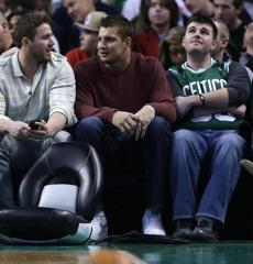 Boston, MA - 03/01/13 - (1st quarter)New England Patriots tight end Rob Gronkowski (87) sat court side. The Celtics play the Golden State Warriors at TD Garden. - (Barry Chin/Globe Staff), Section: Sports, Reporter: bholmes, Topic: 02Warriors-Celtics, LOID: 5.1.883265276.