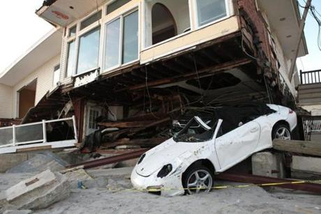 Beachfront homes were in ruin in the aftermath of Hurricane Sandy in the Rockaways, New York.
