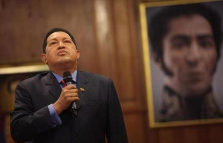 Hugo Chavez spoke at a press conference in Caracas in October 2012, flanked by a portrait of independence hero Simon Bolivar.