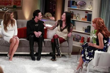 Carmen Electra, Johnny Weir, Margaret Cho, and Kathy Griffin on Griffin's Bravo show.