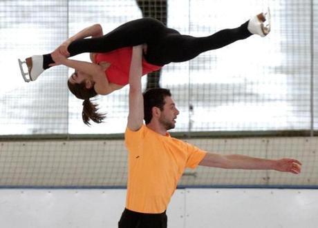 Figure skaters Marissa Castelli and Simon Shnapir trained at the Skating Club of Boston for the upcoming world championships in Ottawa.