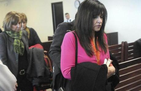 Beth Mattingly-Fujita (right) left the courtroom after her son was convicted of murder.