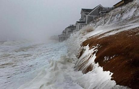 The storm battered the coast along Plum Island.