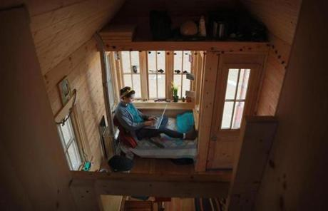 Eight Feet Wide, 19 Feet Long And Built On A Trailer, The Cedar Clapboard  Cabin Has A Sleeping Loft, A Kitchenette, And A Bathroom.