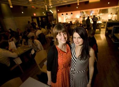 TWO AT THE TAVERN: Katherine Hughes of Somerville and Mary Ross of Revere at the new Tavern Road restaurant in Boston's Fort Point neighborhood on March 7
