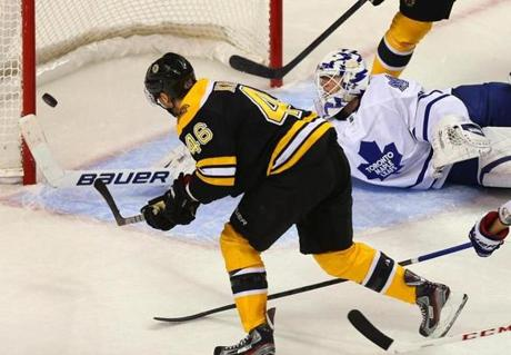 David Krejci buries a rebound behind Maple Leafs goaltender Ben Scrivens in the second period for a 3-1 lead — what proved to be the winning goal.
