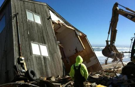 The $800,000 house fell into the high tide.