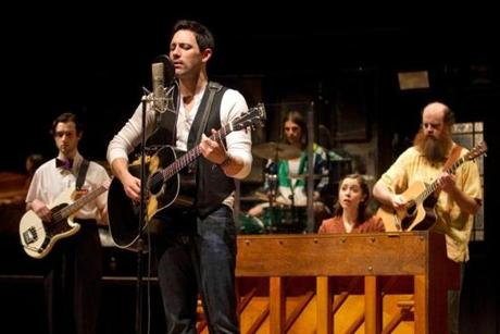 "Will Connolly, Steve Kazee, Lucas Papaelias, Cristin Milioti, Paul Whitty from the ""Once"" Original Broadway Company."