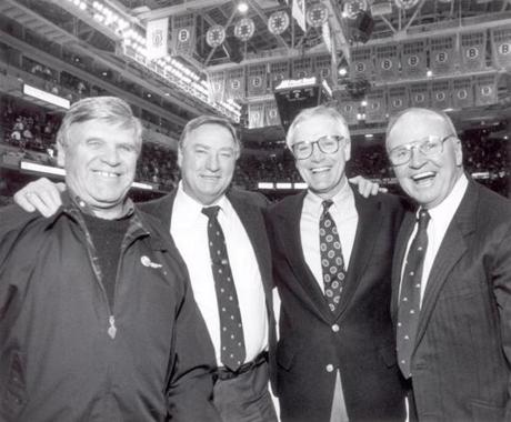 By 1995, on the verge of his second national title, Parker had joined the ranks of legendary Boston college hockey coaches such as BC's Len Ceglarski, left, Northeastern's Fernie Flaman, second from left, and Harvard's Bill Cleary, right.