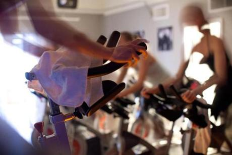 This spin class was one of many intense bike-focused classes offered at Recycle Studio on Newbury Street in Boston.