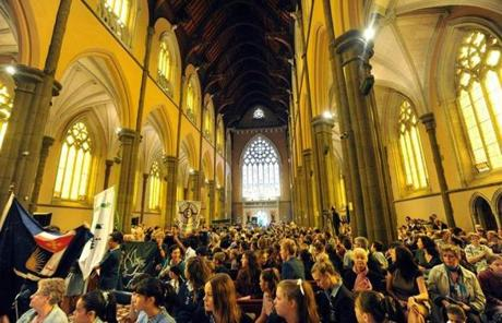 A congregation gathered at St. Paul's Cathedral in Melbourne, Australia, after the announcement of the new pope.