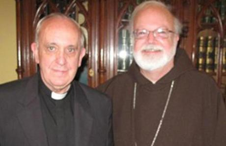 Boston's Cardinal Sean O'Malley is seen with Cardinal Jorge Bergoglio at his residence in Buenos Aires on Dec. 5, 2010.