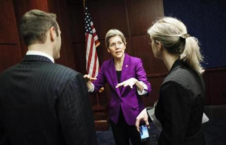 With no room for larger groups in her office, Warren uses a conference room in the Capitol welcome center.