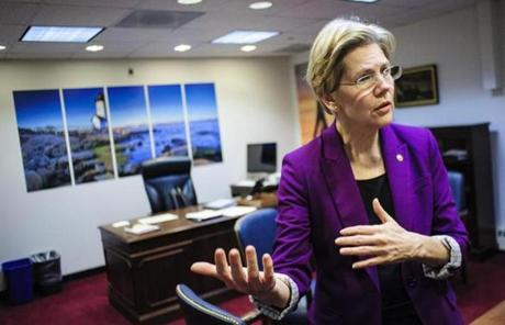 Elizabeth Warren's first six months in the Senate are being spent in a temporary structure.