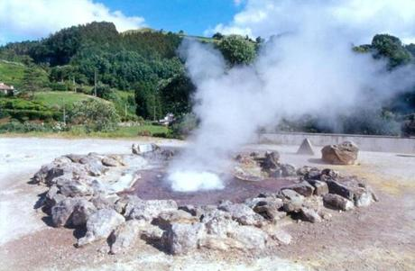 Known for its hot springs, Furnas is a verdant village that hugs a light bulb-shaped lake sitting inside the rim of a volcano that last erupted in 1630. Everywhere you look there are fumaroles, those openings in the crust of the earth where steam and gases pour out.